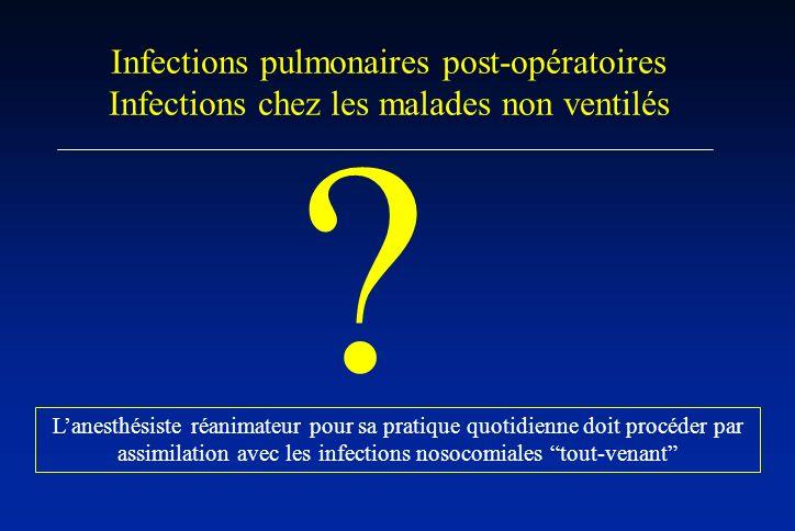 Lanesthésiste réanimateur pour sa pratique quotidienne doit procéder par assimilation avec les infections nosocomiales tout-venant Infections pulmonai