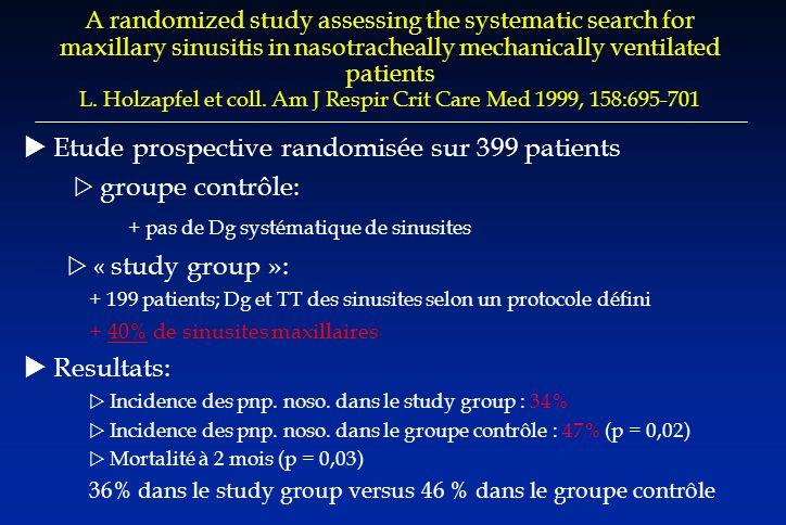 Chirurgie générale Delgado-Rodriguez J Hosp Infect, 1997 19 / 14831,3 % Chirurgie cardiaque Leal-Noval Crit Care Med, 2000 45 / 6856,5 % Kollef Chest, 1997 59 / 6059,7 % Chirurgie thoracique Duque Ann Thorac Surg, 1997 32 / 6055,3 % Garibaldi Am J Med, 1981 41 / 10240 % Chirurgie digestive Hall Chest, 1991 28 / 10000,3 % Ejlertsen Acta Chir Scand, 1989 5 / 1303,8 % Garibaldi Am J Med, 1981 11 / 208 5 % (sous M.) Garibaldi Am J Med, 1981 35 / 20117 % (sus M.) Richardson Ann Surg, 1982 41 / 14329 % Incidence des infections pulmonaires post op.