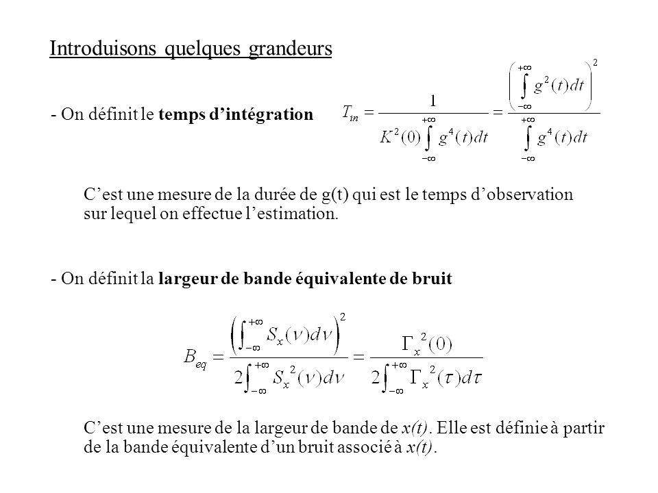 Introduisons quelques grandeurs - On définit le temps dintégration Cest une mesure de la durée de g(t) qui est le temps dobservation sur lequel on eff