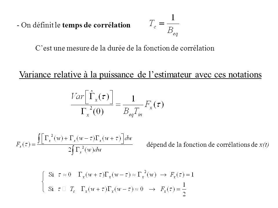 - On définit le temps de corrélation Cest une mesure de la durée de la fonction de corrélation Variance relative à la puissance de lestimateur avec ce