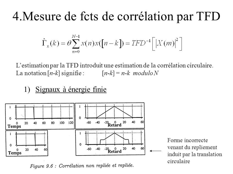 4.Mesure de fcts de corrélation par TFD Lestimation par la TFD introduit une estimation de la corrélation circulaire. La notation [n-k] signifie : [n-