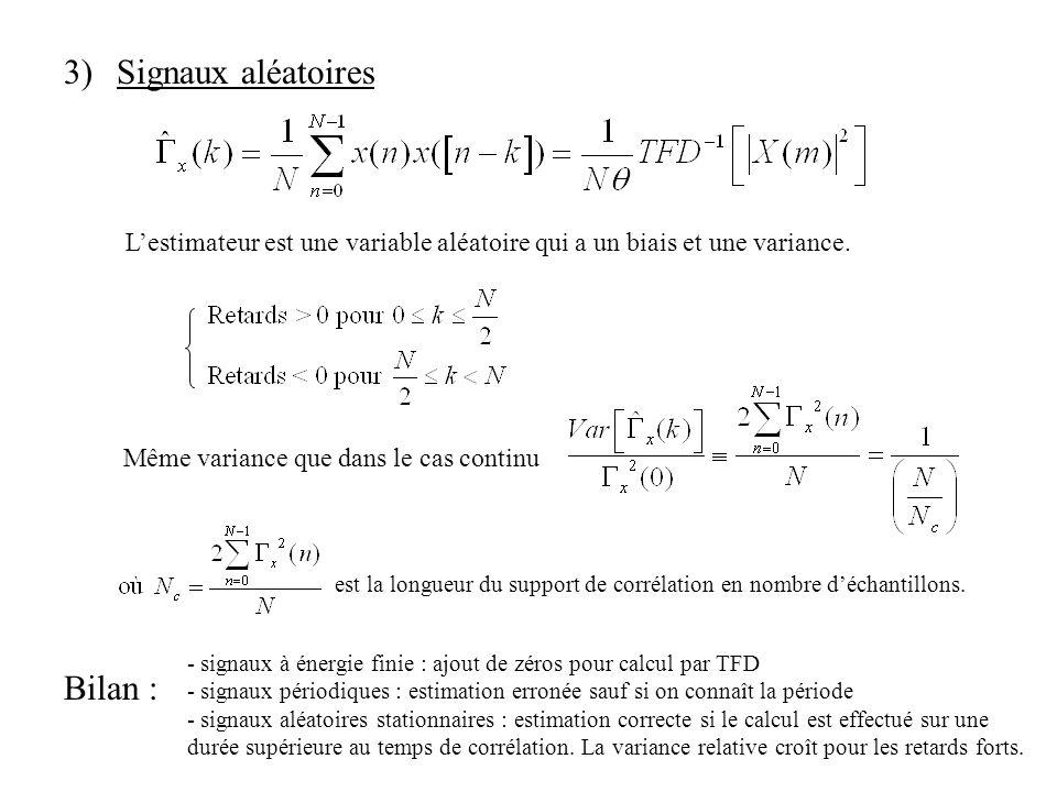 3)Signaux aléatoires Lestimateur est une variable aléatoire qui a un biais et une variance. Même variance que dans le cas continu est la longueur du s