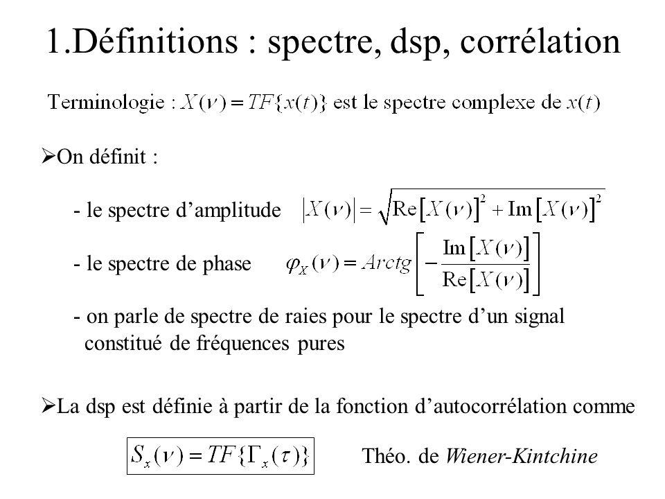 1.Définitions : spectre, dsp, corrélation On définit : - le spectre damplitude - le spectre de phase - on parle de spectre de raies pour le spectre du