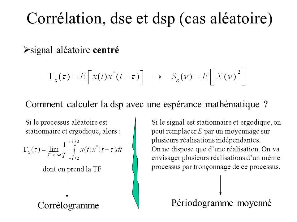 signal aléatoire centré Corrélation, dse et dsp (cas aléatoire) Comment calculer la dsp avec une espérance mathématique ? Si le signal est stationnair