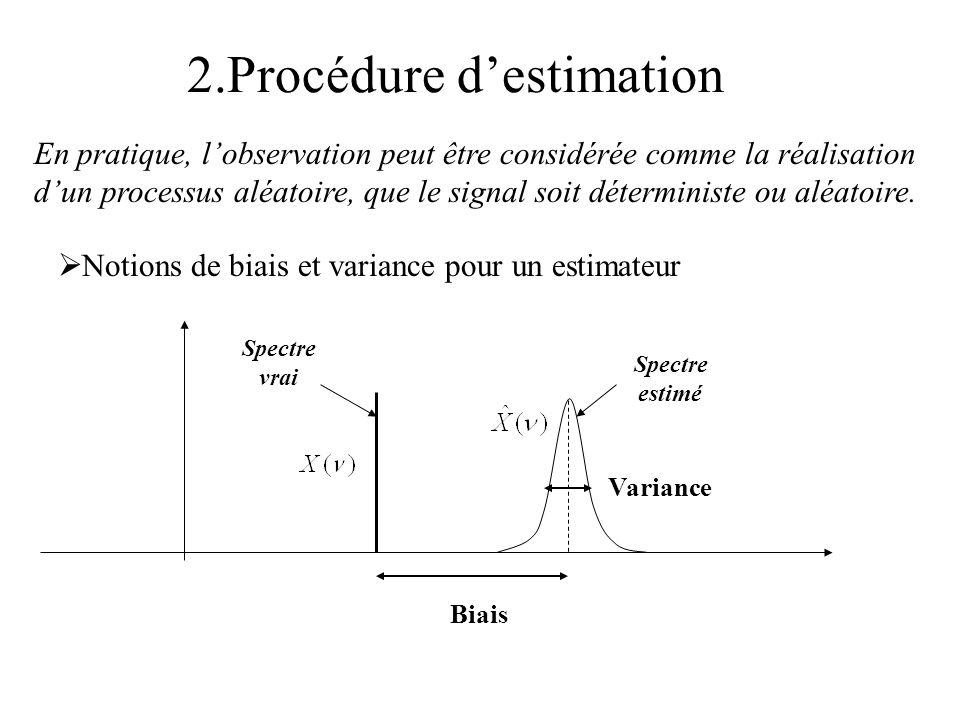 2.Procédure destimation Notions de biais et variance pour un estimateur En pratique, lobservation peut être considérée comme la réalisation dun proces