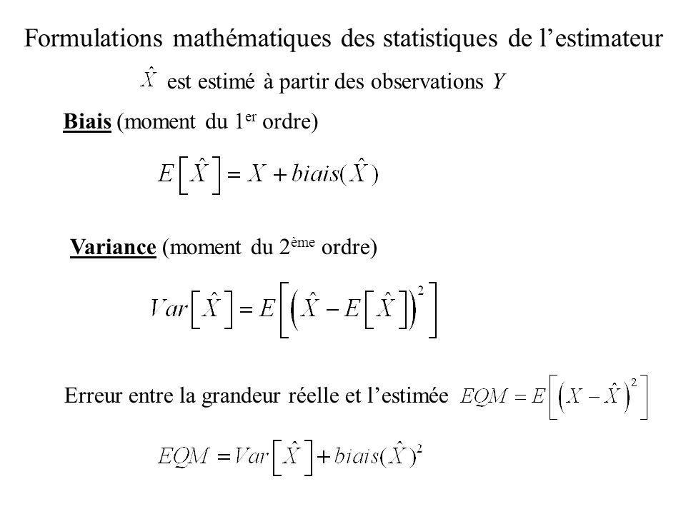 Formulations mathématiques des statistiques de lestimateur Biais (moment du 1 er ordre) Variance (moment du 2 ème ordre) Erreur entre la grandeur réel