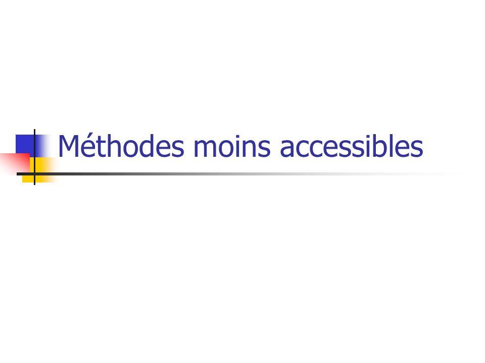 Méthodes moins accessibles