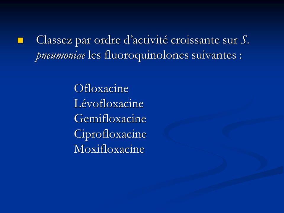 Classez par ordre dactivité croissante sur S. pneumoniae les fluoroquinolones suivantes : Classez par ordre dactivité croissante sur S. pneumoniae les