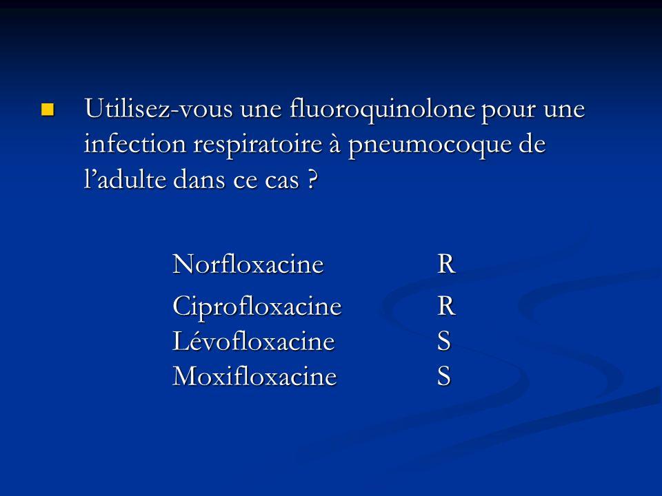 Utilisez-vous une fluoroquinolone pour une infection respiratoire à pneumocoque de ladulte dans ce cas ? Utilisez-vous une fluoroquinolone pour une in