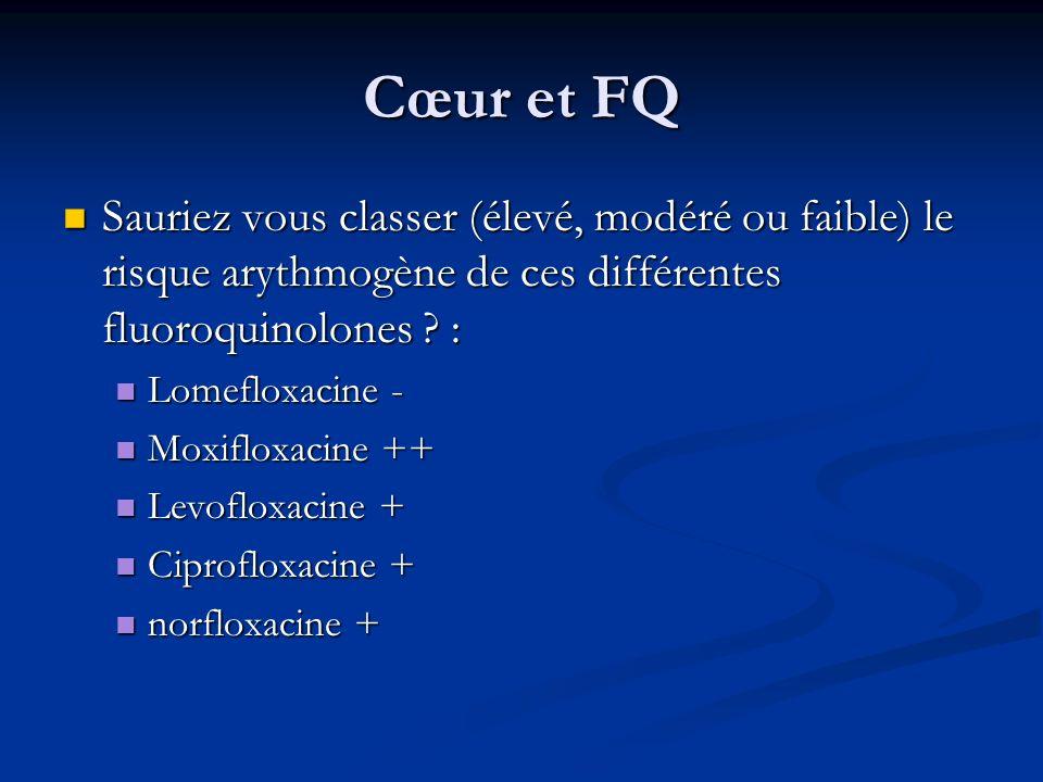 Cœur et FQ Sauriez vous classer (élevé, modéré ou faible) le risque arythmogène de ces différentes fluoroquinolones ? : Sauriez vous classer (élevé, m
