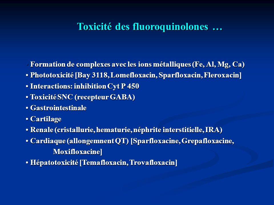 Toxicité des fluoroquinolones … Formation de complexes avec les ions métalliques (Fe, Al, Mg, Ca) Formation de complexes avec les ions métalliques (Fe