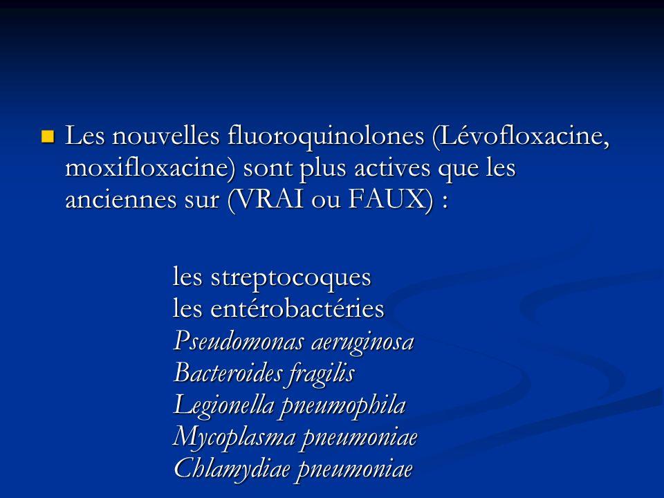 Les nouvelles fluoroquinolones (Lévofloxacine, moxifloxacine) sont plus actives que les anciennes sur (VRAI ou FAUX) : Les nouvelles fluoroquinolones