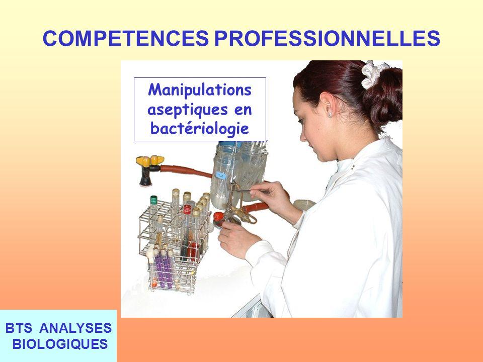 BTS ANALYSES BIOLOGIQUES COMPETENCES PROFESSIONNELLES Manipulations aseptiques en bactériologie