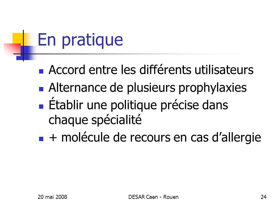 20 mai 2008DESAR Caen - Rouen25 Contrôle qualité Surveillance de la prophylaxie Taux dinfections post-opératoires Type de bactéries en cause Profil de résistance