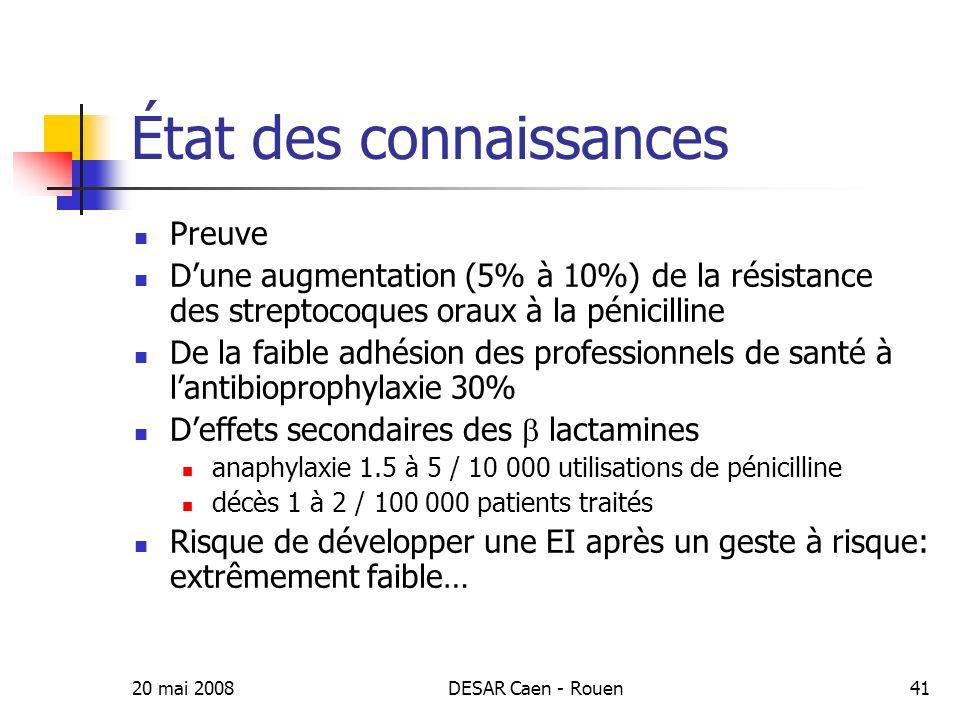 20 mai 2008DESAR Caen - Rouen42 Au plus 1 /10 700 gestes à risque provoqueraient une EI