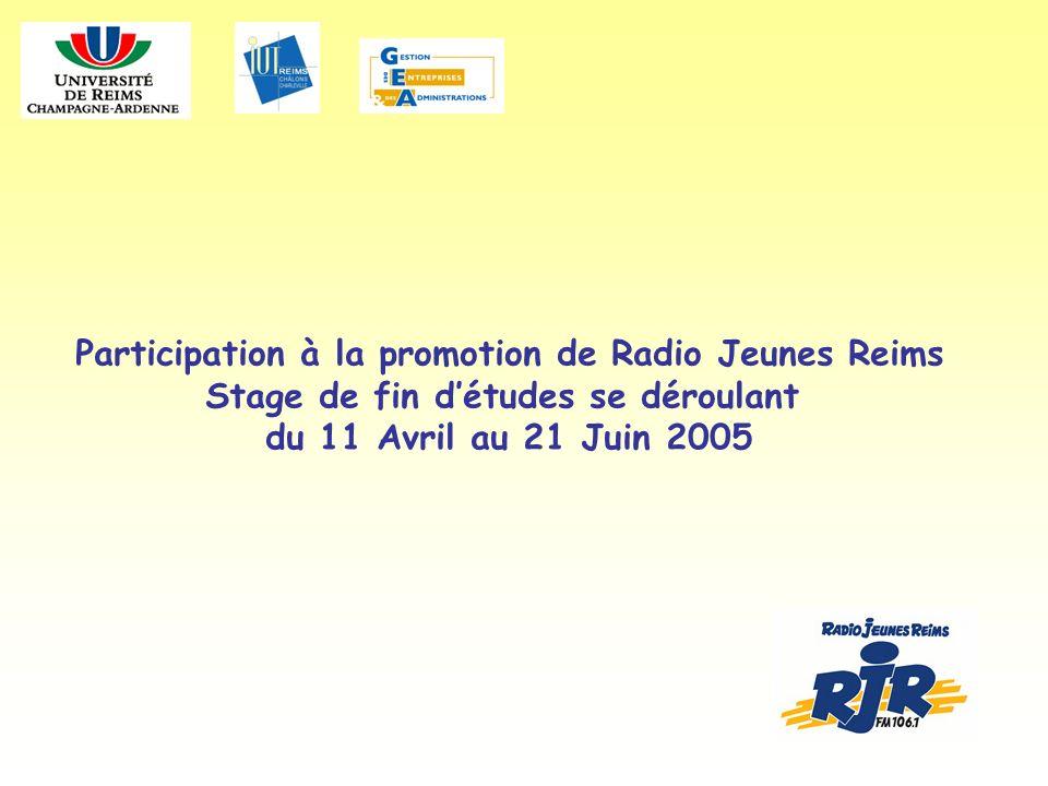 Participation à la promotion de Radio Jeunes Reims Stage de fin détudes se déroulant du 11 Avril au 21 Juin 2005