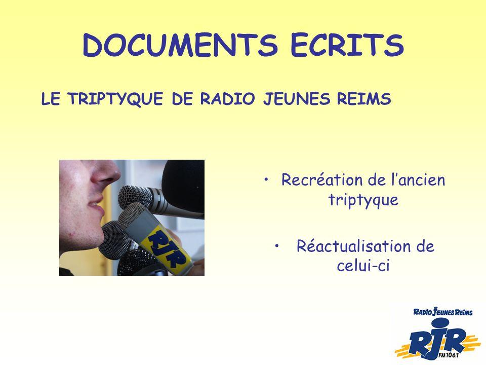 DOCUMENTS ECRITS Recréation de lancien triptyque Réactualisation de celui-ci LE TRIPTYQUE DE RADIO JEUNES REIMS