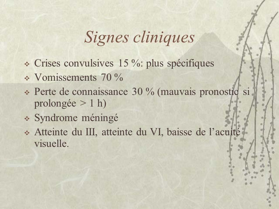 Signes cliniques Crises convulsives 15 %: plus spécifiques Vomissements 70 % Perte de connaissance 30 % (mauvais pronostic si prolongée > 1 h) Syndrom