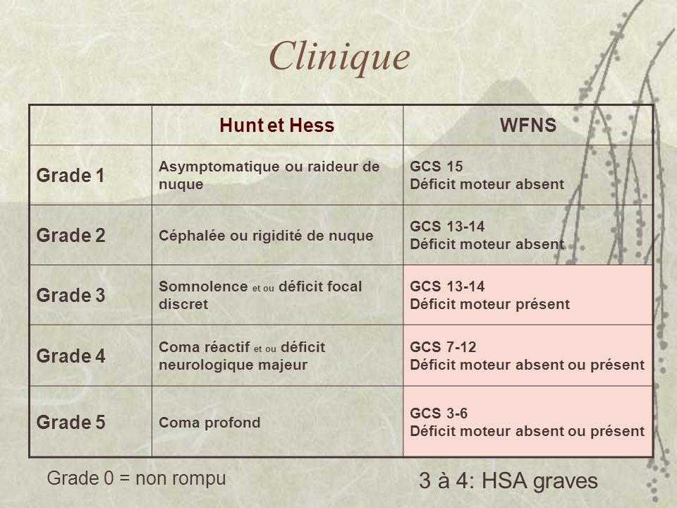 Clinique Hunt et HessWFNS Grade 1 Asymptomatique ou raideur de nuque GCS 15 Déficit moteur absent Grade 2 Céphalée ou rigidité de nuque GCS 13-14 Défi