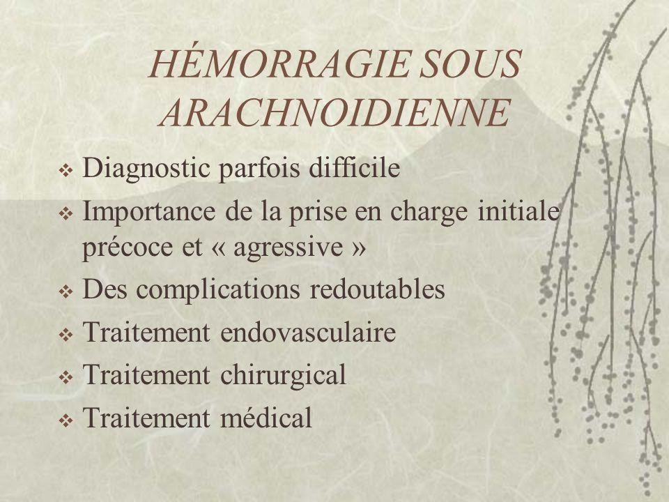 HÉMORRAGIE SOUS ARACHNOIDIENNE Diagnostic parfois difficile Importance de la prise en charge initiale précoce et « agressive » Des complications redou