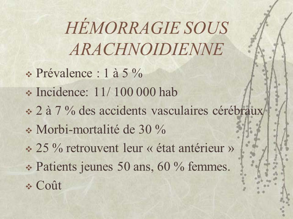 HÉMORRAGIE SOUS ARACHNOIDIENNE Diagnostic parfois difficile Importance de la prise en charge initiale précoce et « agressive » Des complications redoutables Traitement endovasculaire Traitement chirurgical Traitement médical