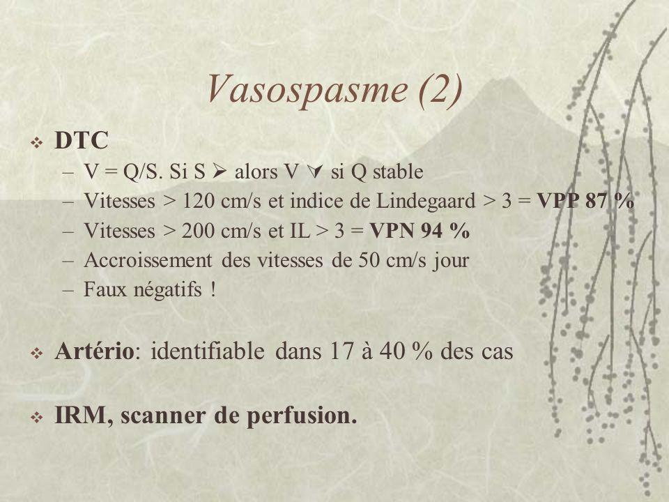 Vasospasme (2) DTC –V = Q/S. Si S alors V si Q stable –Vitesses > 120 cm/s et indice de Lindegaard > 3 = VPP 87 % –Vitesses > 200 cm/s et IL > 3 = VPN