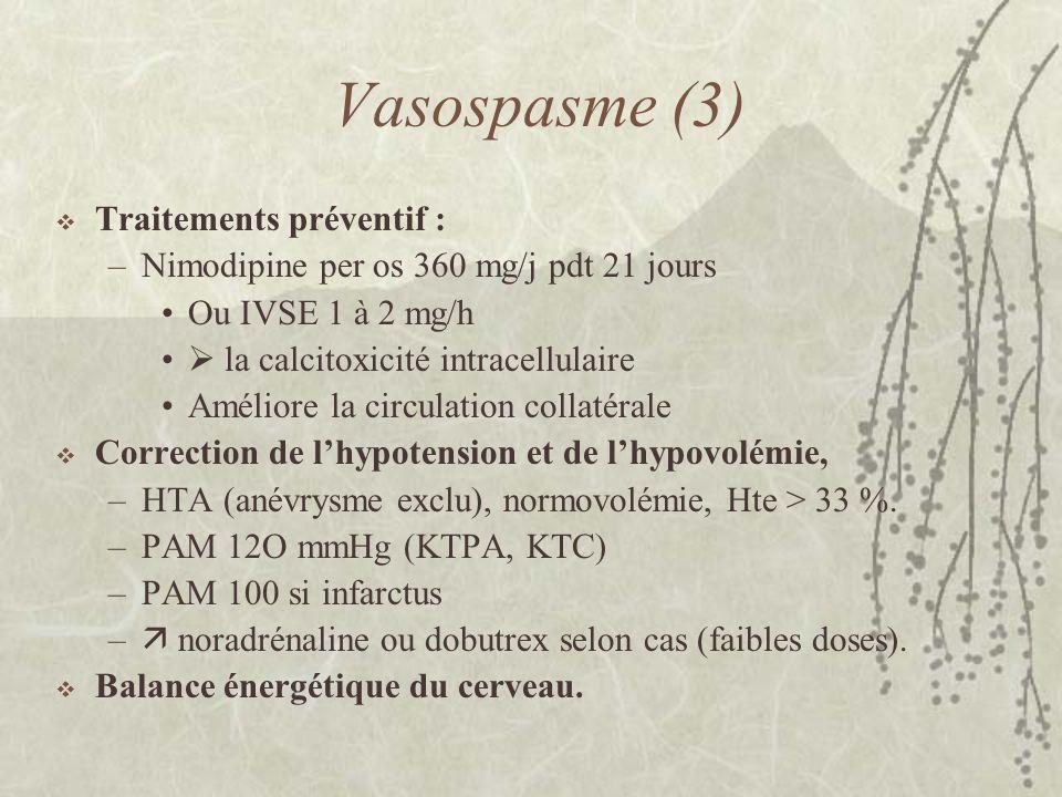 Vasospasme (3) Traitements préventif : –Nimodipine per os 360 mg/j pdt 21 jours Ou IVSE 1 à 2 mg/h la calcitoxicité intracellulaire Améliore la circul