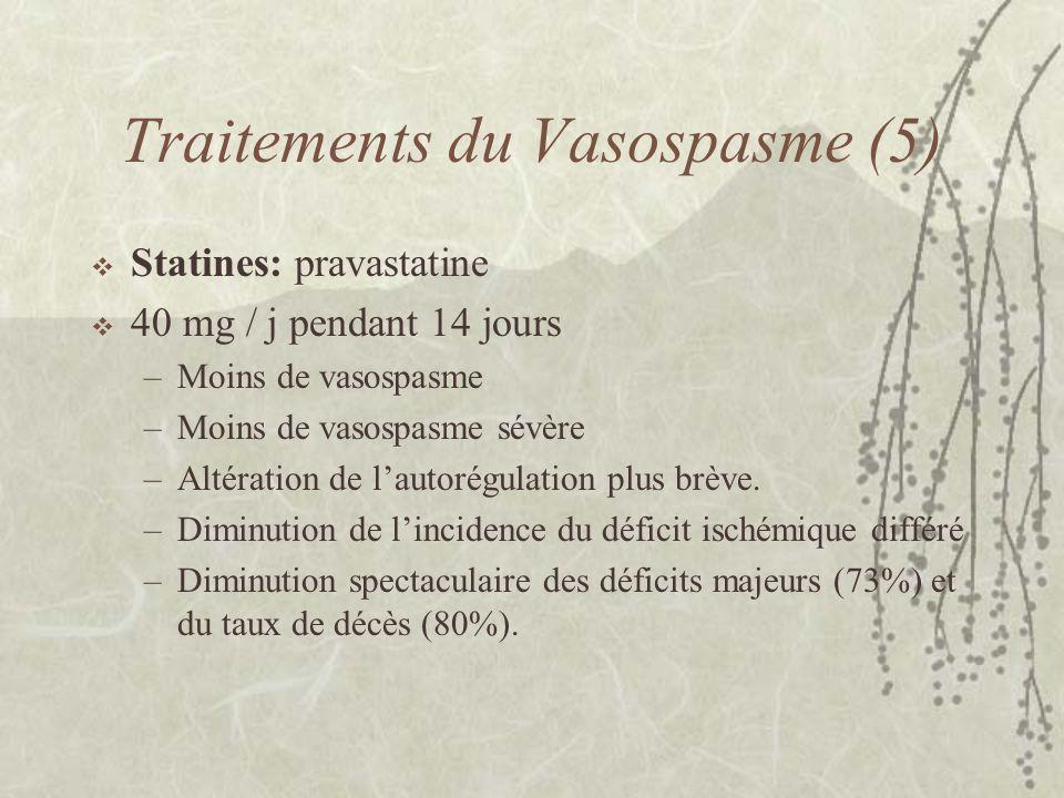 Traitements du Vasospasme (5) Statines: pravastatine 40 mg / j pendant 14 jours –Moins de vasospasme –Moins de vasospasme sévère –Altération de lautor