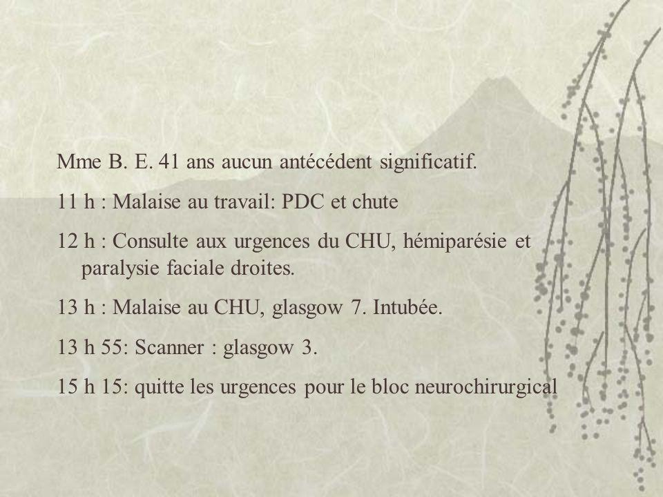 Mme B. E. 41 ans aucun antécédent significatif. 11 h : Malaise au travail: PDC et chute 12 h : Consulte aux urgences du CHU, hémiparésie et paralysie