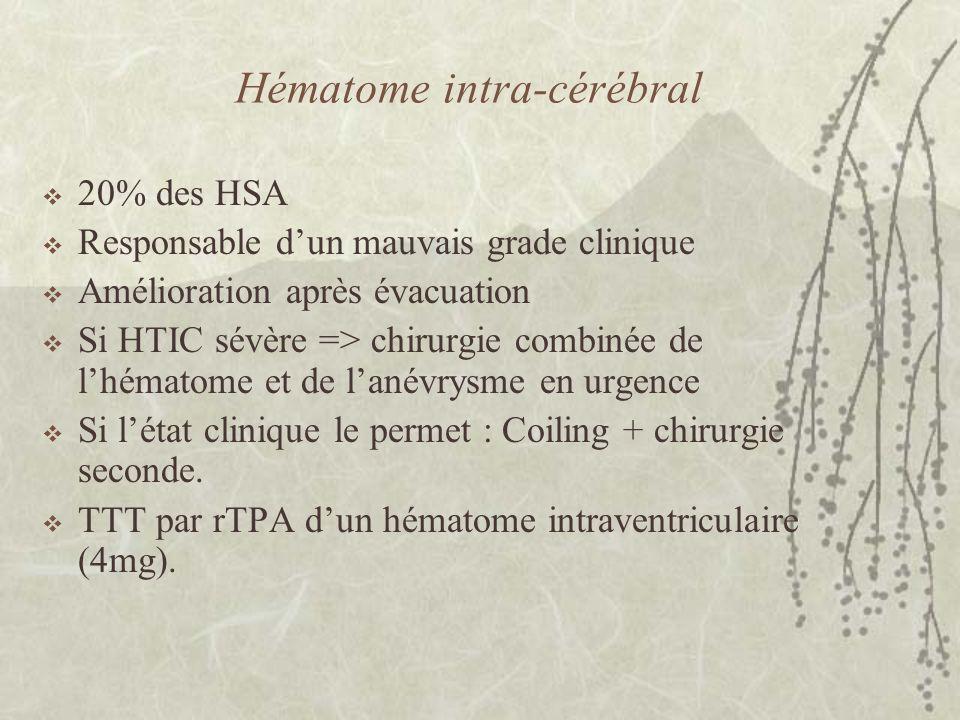 Hématome intra-cérébral 20% des HSA Responsable dun mauvais grade clinique Amélioration après évacuation Si HTIC sévère => chirurgie combinée de lhéma
