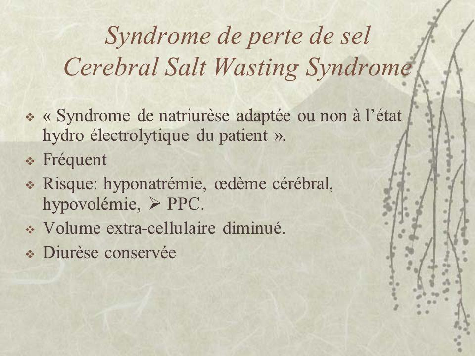 Syndrome de perte de sel Cerebral Salt Wasting Syndrome « Syndrome de natriurèse adaptée ou non à létat hydro électrolytique du patient ». Fréquent Ri