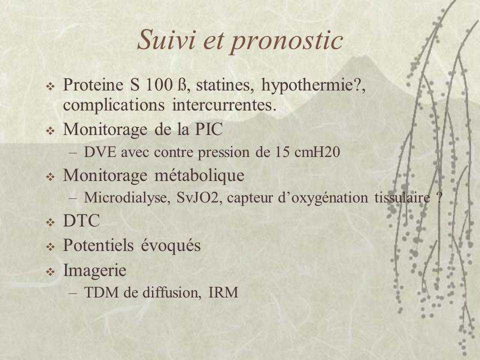 Suivi et pronostic Proteine S 100 ß, statines, hypothermie?, complications intercurrentes. Monitorage de la PIC –DVE avec contre pression de 15 cmH20