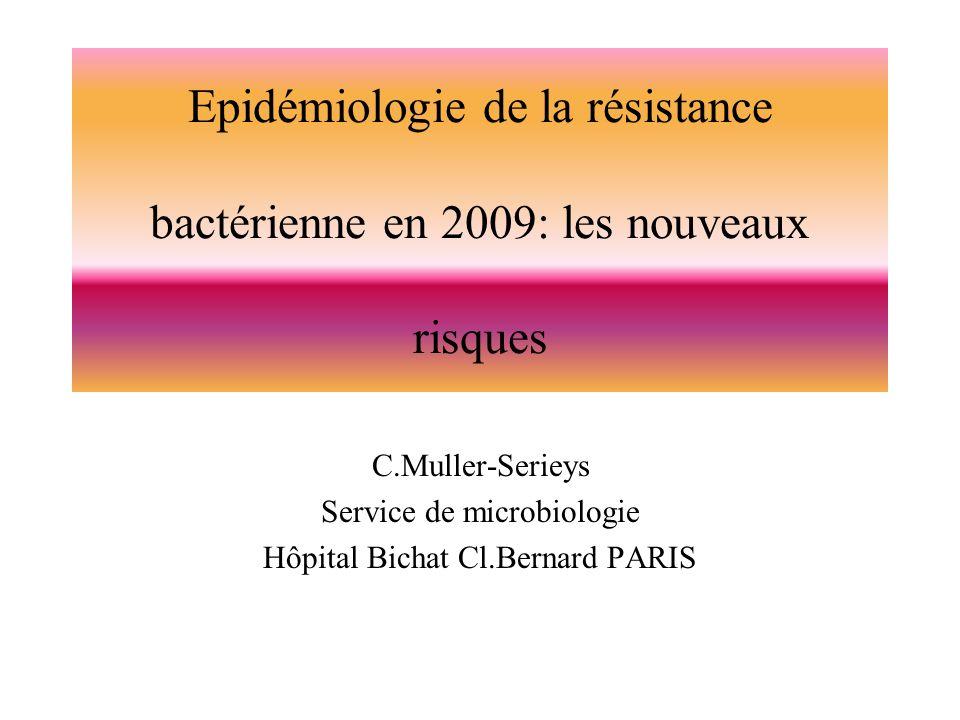 Fréquence des germes isolés de bactérièmies nosocomiales en 2006 Espèces% E.coli19,4 S.aureus17,4 S.coag-14,3 P.aeruginosa7,8 Entérocoques4,4 Enquête dincidence à partir du laboratoire: 1/10 au 31/12/2006 80 Hôpitaux; n=2091 wwwcclinparisnord.org