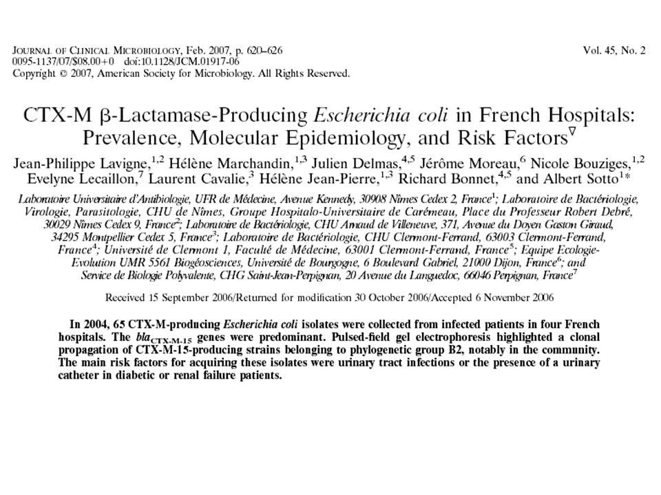 Carbapénémases et entérobactéries KPC : Première carbapénémase plasmidique de classe A (transposon) –resistance à toutes les -lactamines y compris C3G,C4G et carbapénèmes Apparues chez certaines Enterobactéries –Klebsiella pneumoniae (bouffées épidémiques) –Mais aussi sporadique chez K.