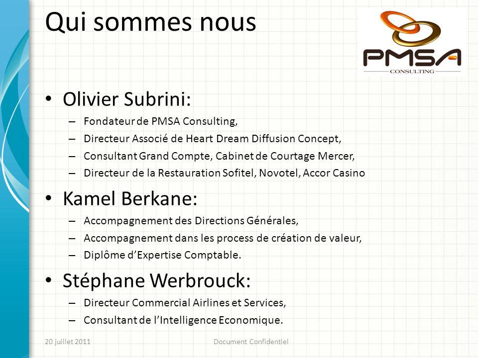 Qui sommes nous Olivier Subrini: – Fondateur de PMSA Consulting, – Directeur Associé de Heart Dream Diffusion Concept, – Consultant Grand Compte, Cabi