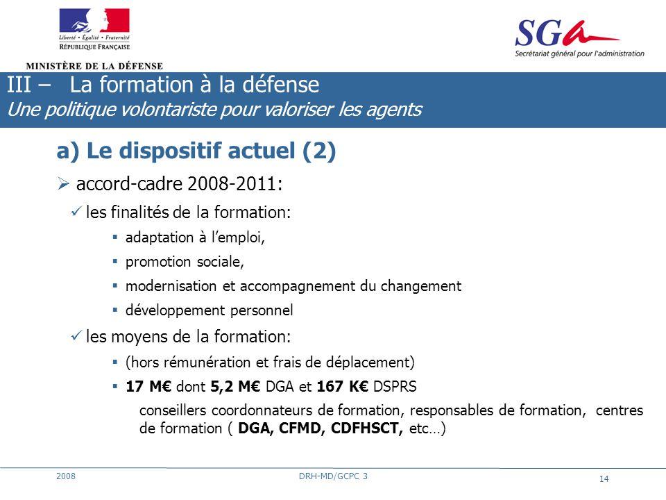 2008DRH-MD/GCPC 3 14 a) Le dispositif actuel (2) accord-cadre 2008-2011: les finalités de la formation: adaptation à lemploi, promotion sociale, moder