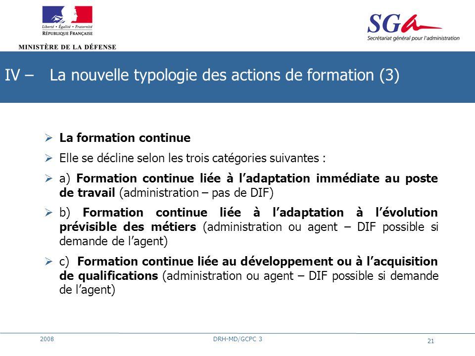 2008DRH-MD/GCPC 3 21 La formation continue Elle se décline selon les trois catégories suivantes : a) Formation continue liée à ladaptation immédiate a
