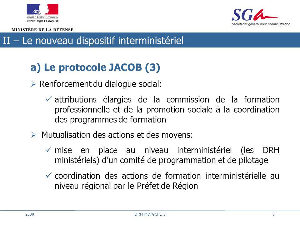 2008DRH-MD/GCPC 3 7 a) Le protocole JACOB (3) Renforcement du dialogue social: attributions élargies de la commission de la formation professionnelle