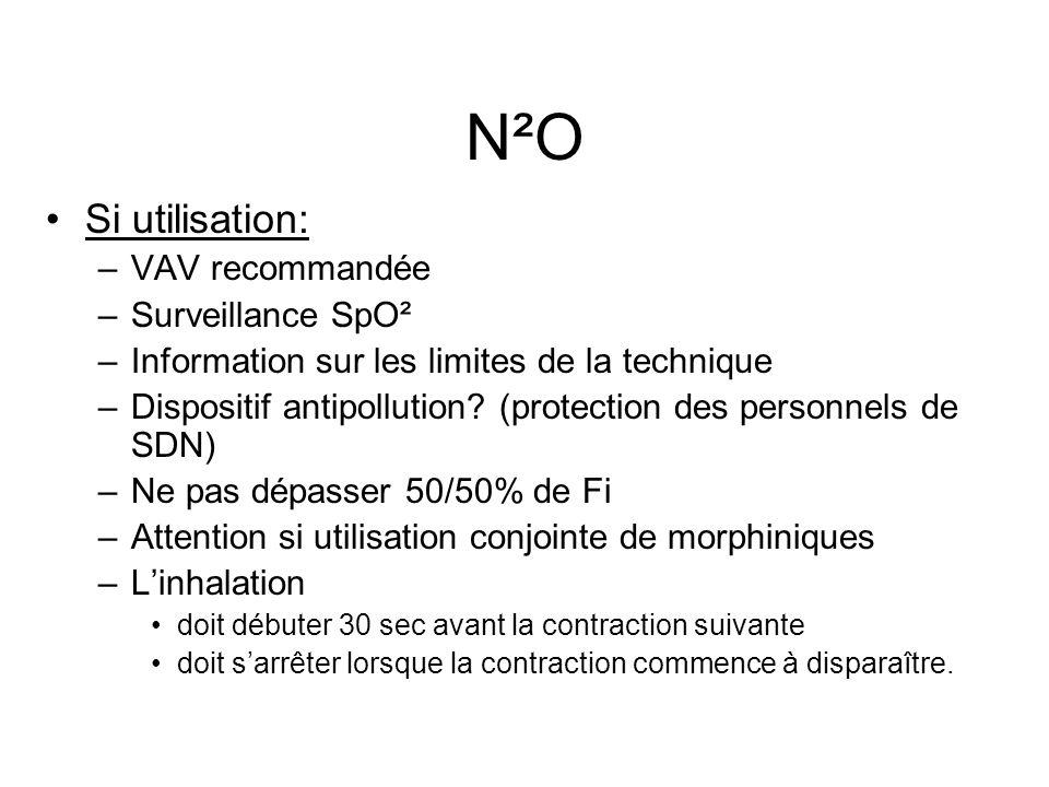 N²O Si utilisation: –VAV recommandée –Surveillance SpO² –Information sur les limites de la technique –Dispositif antipollution.