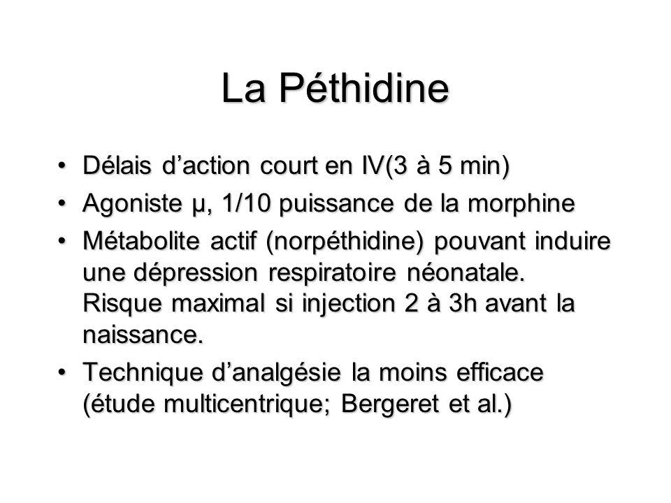 La Péthidine Délais daction court en IV(3 à 5 min)Délais daction court en IV(3 à 5 min) Agoniste µ, 1/10 puissance de la morphineAgoniste µ, 1/10 puissance de la morphine Métabolite actif (norpéthidine) pouvant induire une dépression respiratoire néonatale.