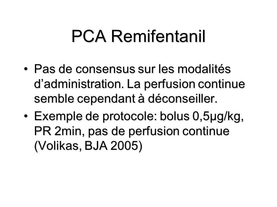 PCA Remifentanil Pas de consensus sur les modalités dadministration.