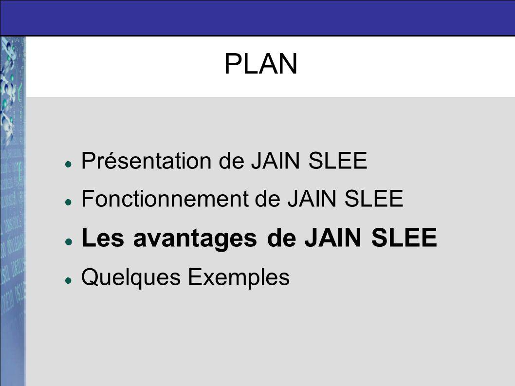 J2EE / JSLEE Les avantages de JAIN SLEE J2EE Majorité d invocations en mode synchronisé Utilisation d objets/composants lourds Utilisation fréquente de bases de données pour stocker les informations Les accès aux bases de données requièrent de lourds traitements CPU.
