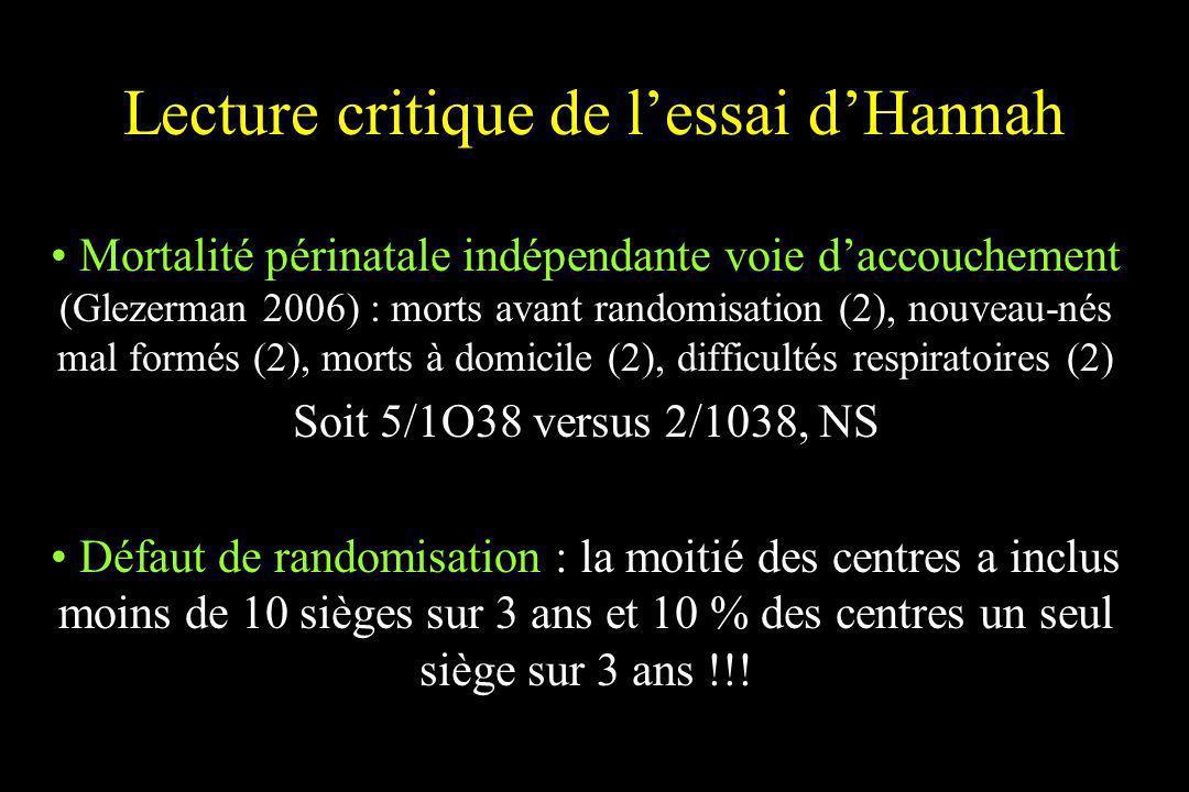 Lecture critique de lessai dHannah Mortalité périnatale indépendante voie daccouchement (Glezerman 2006) : morts avant randomisation (2), nouveau-nés