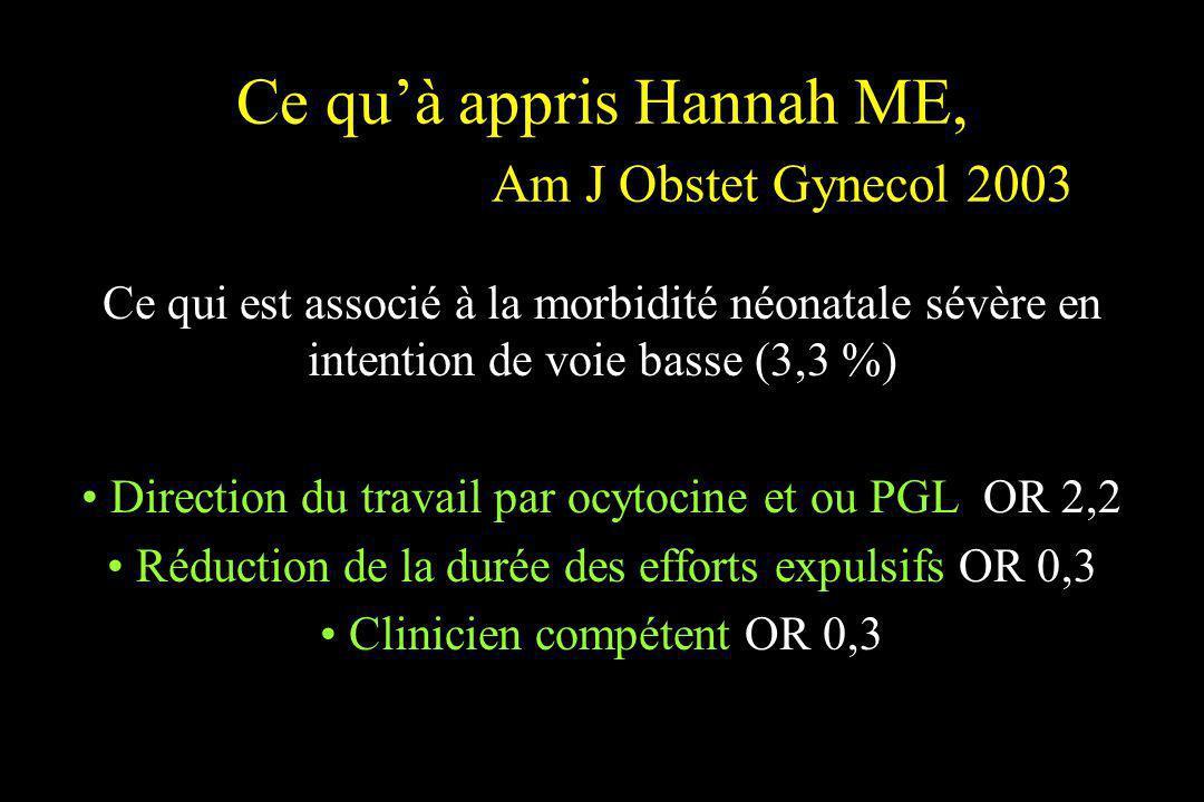 Ce quà appris Hannah ME, Am J Obstet Gynecol 2003 Ce qui est associé à la morbidité néonatale sévère en intention de voie basse (3,3 %) Direction du t
