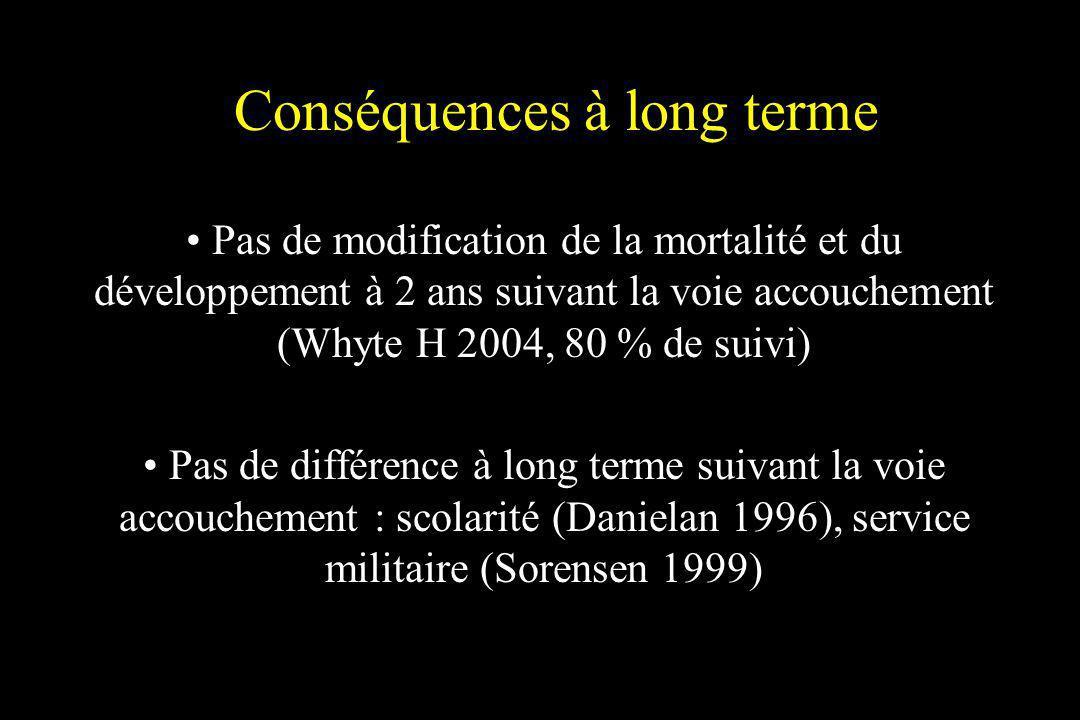Conséquences à long terme Pas de modification de la mortalité et du développement à 2 ans suivant la voie accouchement (Whyte H 2004, 80 % de suivi) P