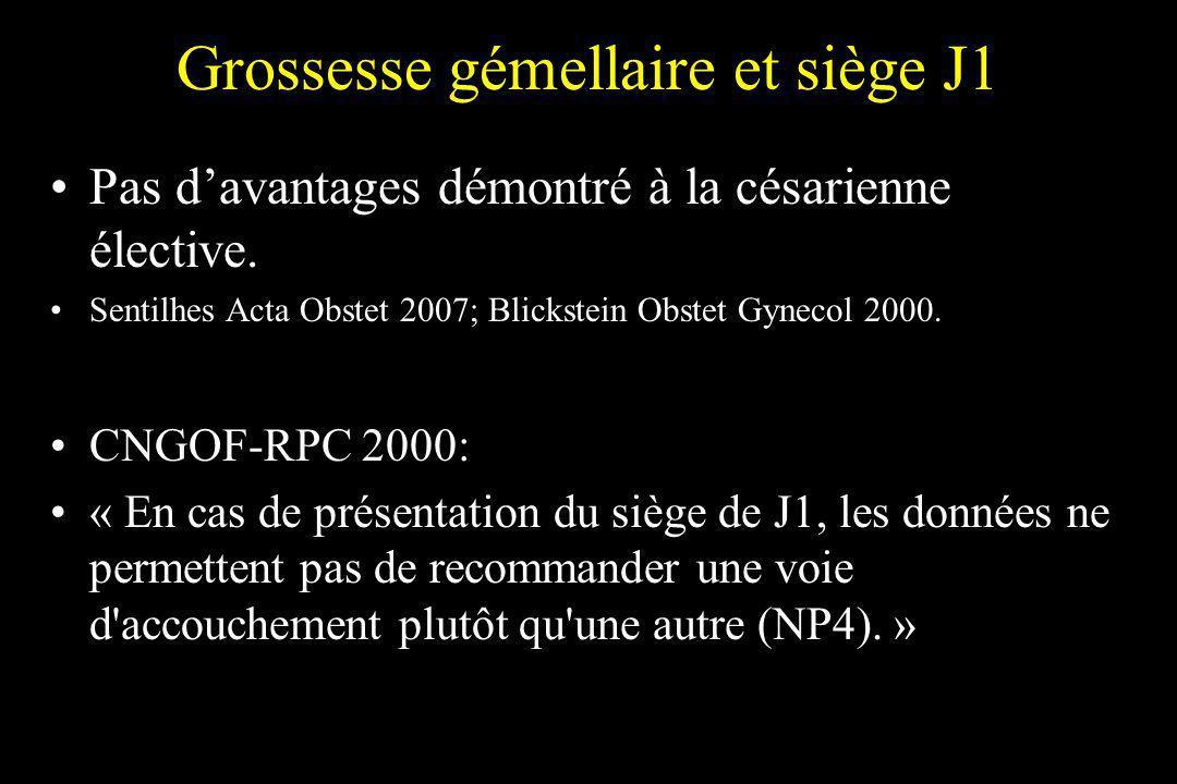 Grossesse gémellaire et siège J1 Pas davantages démontré à la césarienne élective. Sentilhes Acta Obstet 2007; Blickstein Obstet Gynecol 2000. CNGOF-R