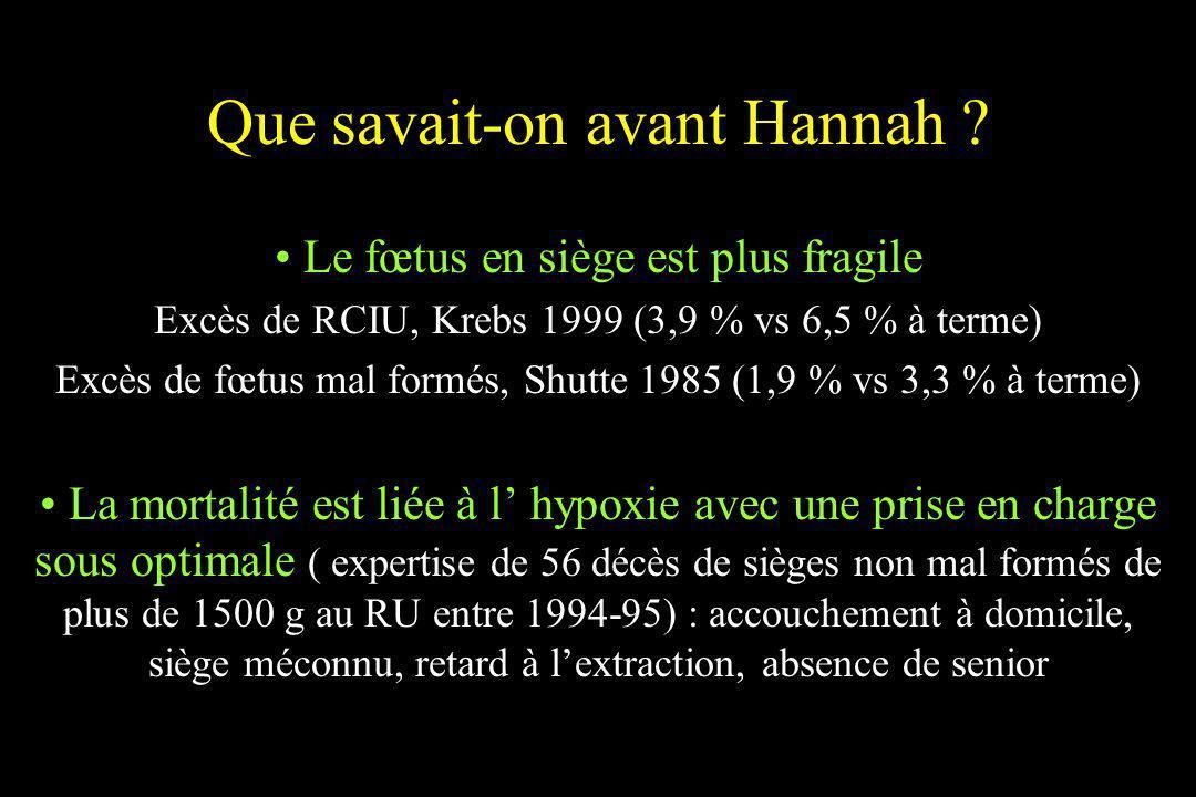 Que savait-on avant Hannah ? Le fœtus en siège est plus fragile Excès de RCIU, Krebs 1999 (3,9 % vs 6,5 % à terme) Excès de fœtus mal formés, Shutte 1