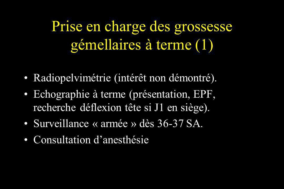 Prise en charge des grossesse gémellaires à terme (1) Radiopelvimétrie (intérêt non démontré). Echographie à terme (présentation, EPF, recherche défle