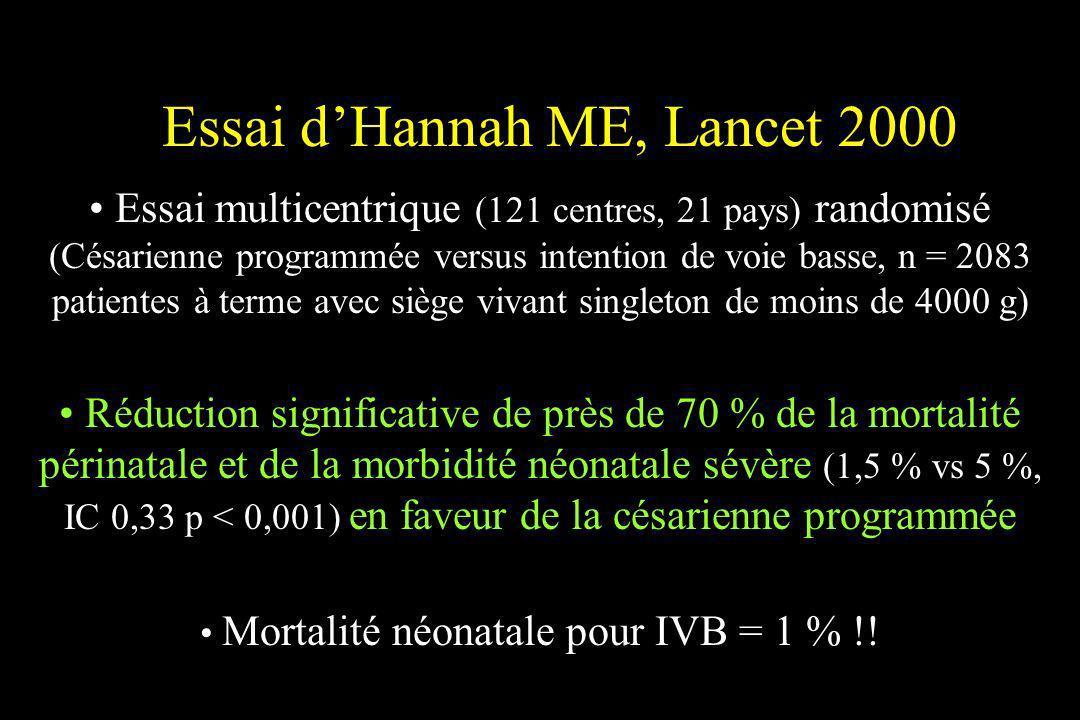 Essai dHannah ME, Lancet 2000 Essai multicentrique (121 centres, 21 pays) randomisé (Césarienne programmée versus intention de voie basse, n = 2083 pa