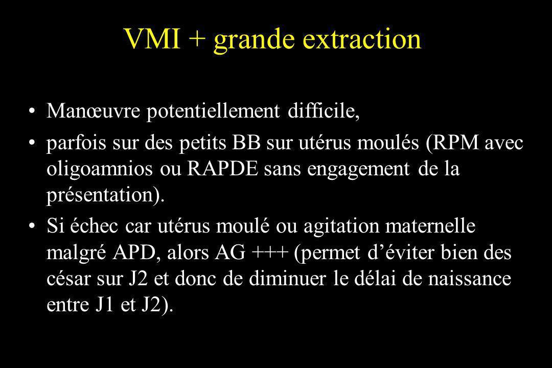 VMI + grande extraction Manœuvre potentiellement difficile, parfois sur des petits BB sur utérus moulés (RPM avec oligoamnios ou RAPDE sans engagement